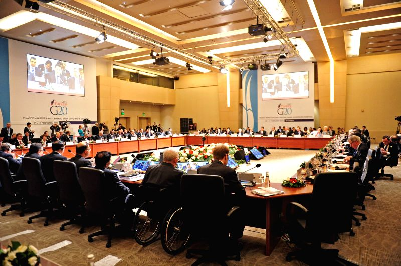 Guests discuss during the meeting of G20 finance ministers and central bank governors in Istanbul, Turkey, on Feb. 10, 2015. G20 finance ministers and chiefs of ... - Ali Babacan