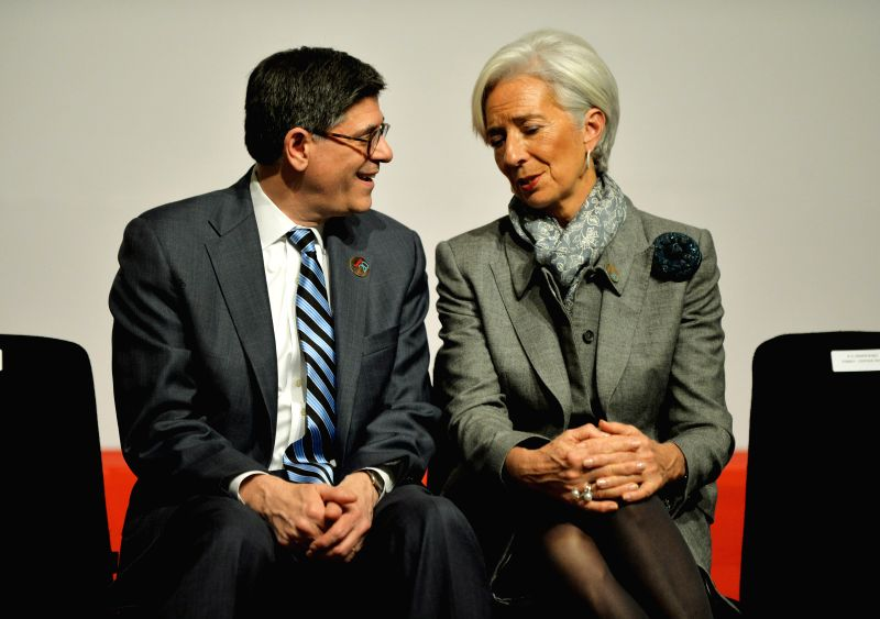 International Monetary Fund(IMF) Managing Director Christine Lagarde(R) talks with U.S. Treasury Secretary Jacob J. Lew during the meeting of G20 finance ministers - Ali Babacan