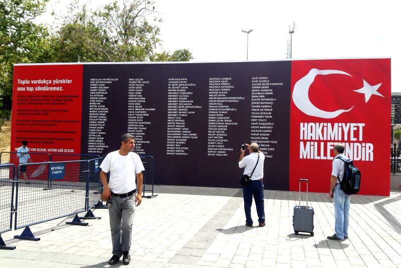 ISTANBUL, July 20, 2016 - Photo taken on July 20, 2016 shows the list of victims during last week's failed military coup in Istanbul, Turkey. A ceremony was held on Wednesday at the heart of Istanbul ...
