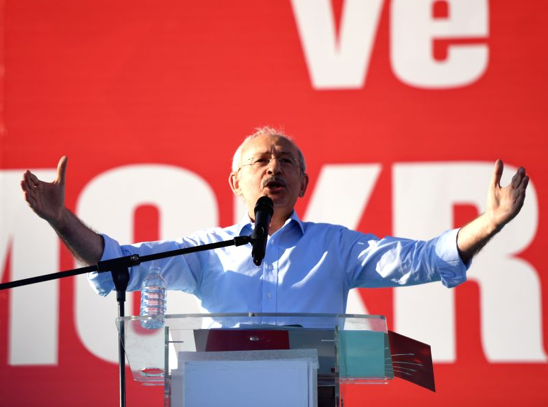 ISTANBUL, July 25, 2016 - Turkey's Republican People's Party (CHP) leader Kemal Kilicdaroglu delivers a speech to the crowd during a rally at Istanbul's Taksim square in Turkey, on July 24, 2016. ...