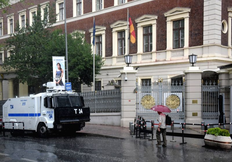 ISTANBUL, June 4, 2016 - A man passes German General Consulate in Istanbul, Turkey, on June 3, 2016. The relations between Turkey and Germany will not suffer despite the German parliament's ...