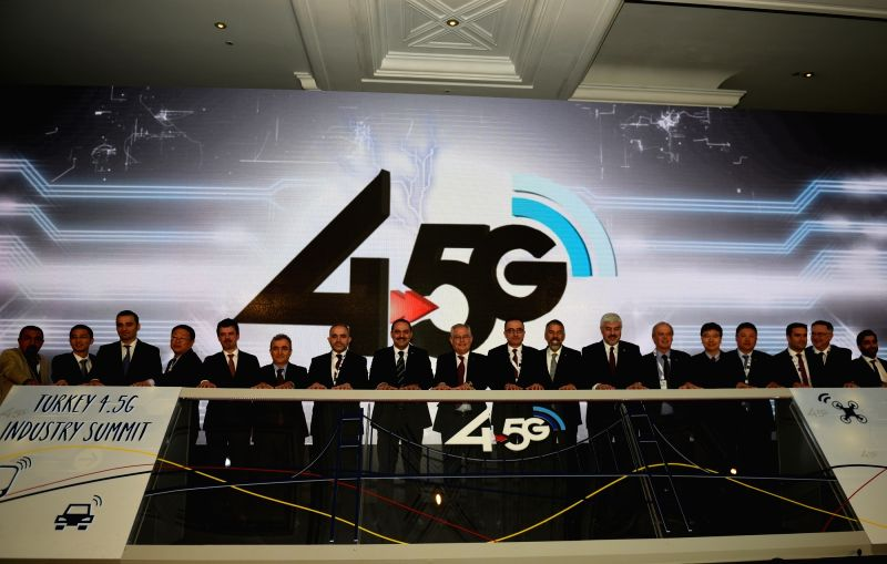 ISTANBUL, May 10, 2016 - Representatives pose for a photo at the ceremony of Turkey 4.5G Industry Summit in Istanbul, Turkey, on May 10, 2016.