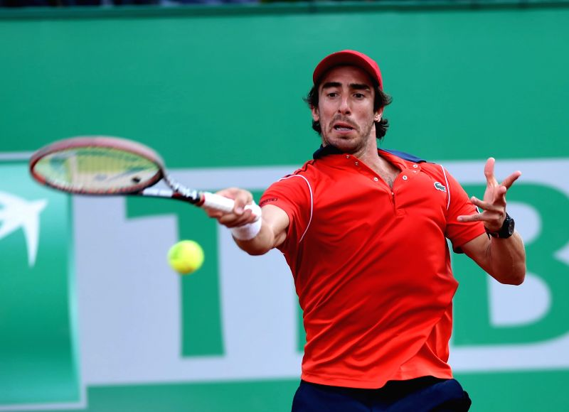 Pablo Cuevas of Uruguay returns the ball during the Men's Singles final against Roger Federer of Switzerland at 2015 ATP World Tour Istanbul Open in Istanbul, ...