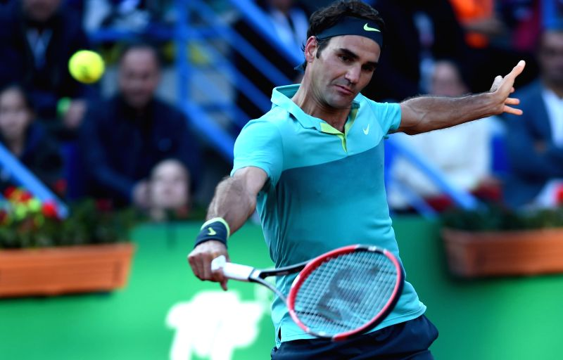 Roger Federer of Switzerland returns the ball during the Men's Singles final against Pablo Cuevas of Uruguay at 2015 ATP World Tour Istanbul Open in Istanbul, ...