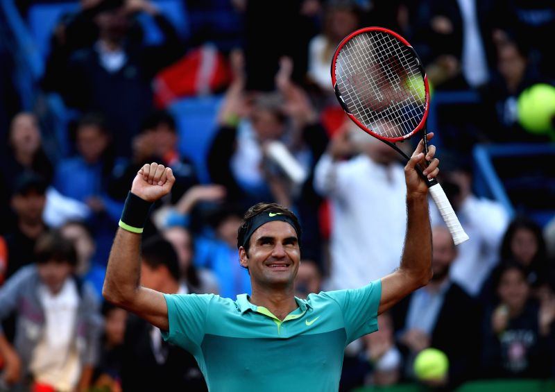 Roger Federer of Switzerland celebrates his victory during the Men's Singles final against Pablo Cuevas of Uruguay at 2015 ATP World Tour Istanbul Open in Istanbul, ...