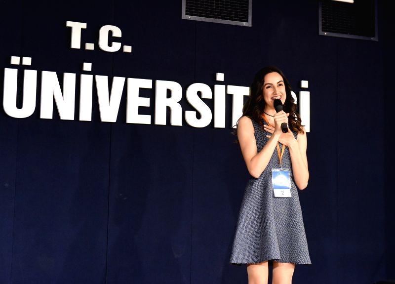 ISTANBUL, May 7, 2017 - Ayse Ilayda Dikbasan speaks at the 16th Chinese proficiency competition for Turkish college students in Istanbul, Turkey, on May 6, 2017. The 16th Chinese proficiency ...