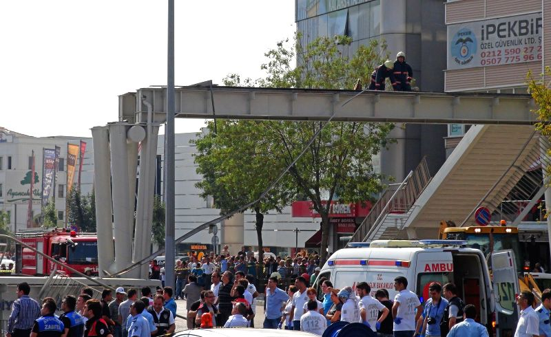 Ambulances and fire fighters are carrying out the rescue work in Istanbul on Sept. 3, 2014. An overpass collapsed in Istanbul's Avcilar district killing at least ..
