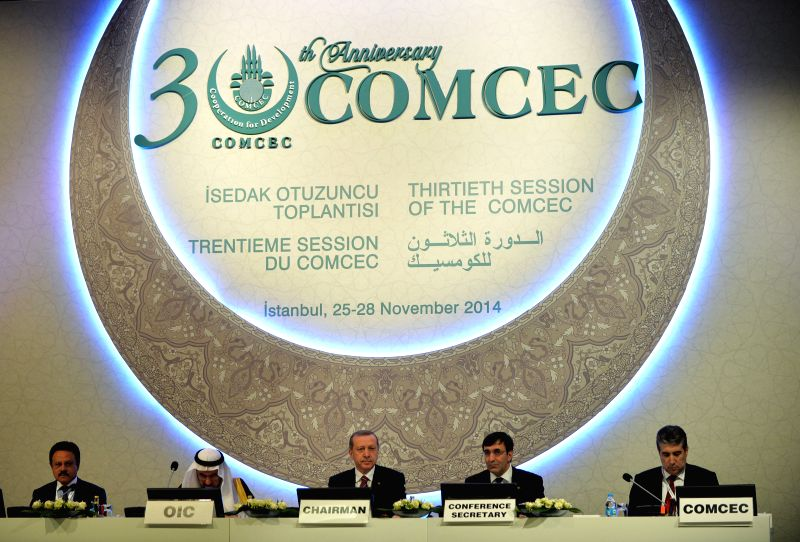 Istanbul (Turkey): Turkish President Recep Tayyip Erdogan with other representatives attend the 30th Session of the Standing Committee for Economic and Commercial Cooperation of the Organization of ..