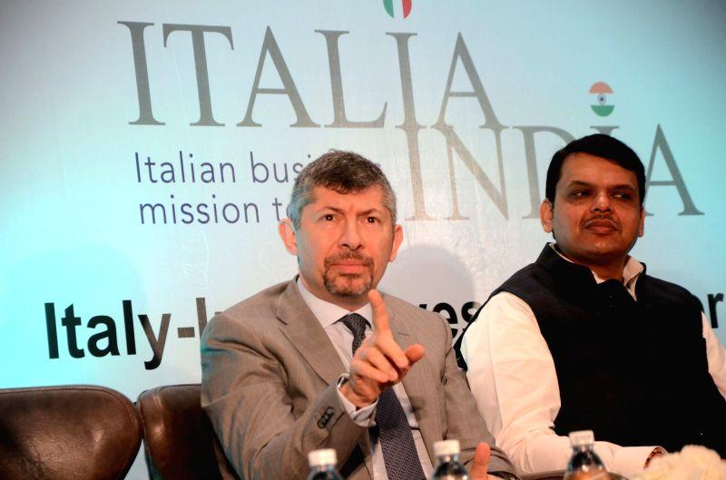 Italian Deputy Minister of Economic Development Ivan Scalfarotto and Maharashtra Chief Minister Devendra Fadnavis during a programme in Mumbai on April 28, 2017. - Devendra Fadnavis