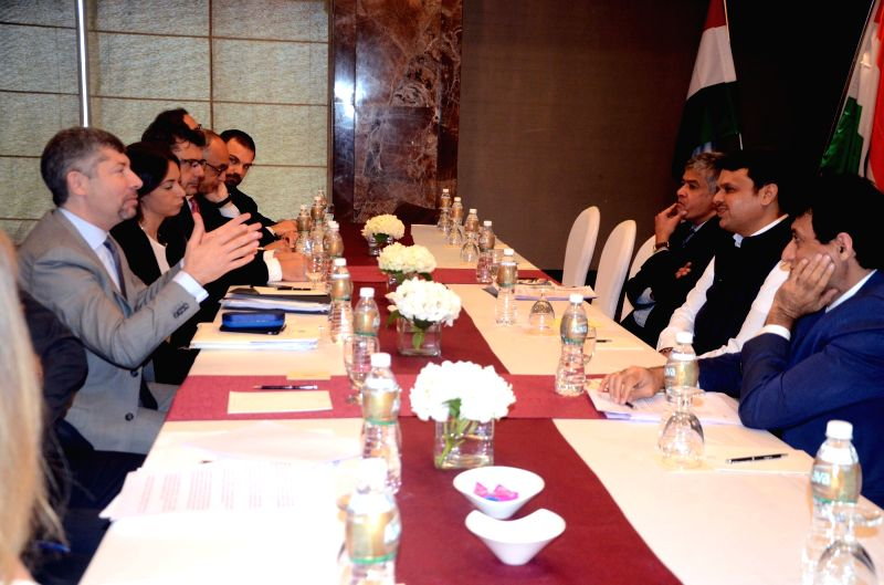 Italian Deputy Minister of Economic Development Ivan Scalfarotto meets Maharashtra Chief Minister Devendra Fadnavis in Mumbai on April 28, 2017. - Devendra Fadnavis