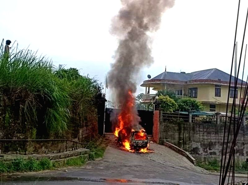 Itanagar: A miscreant set on fire a vehicle and killed a dog in front of the house of BJP Lok Sabha member Tapir Gao in Itanagar, on May 31, 2019. Gao, elected from Arunachal East and the state President of the BJP, was not at home when the incident