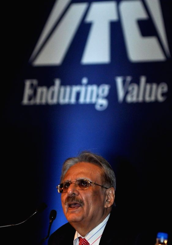 ITC Chairman and CEO YC Deveshwar addresses during the Annual General Meeting of ITC in Kolkata on July 22, 2016.
