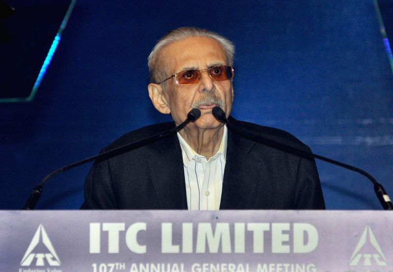 ITC Ltd chairman YC Deveshwar addresses during the company's 107th annual general meeting (AGM), in Kolkata, on July 27, 2018.