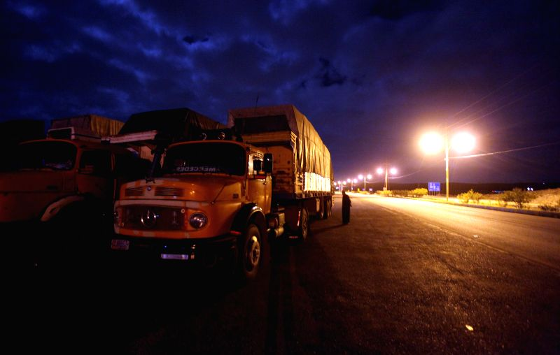 A Jordanian truck is seen at the crossing border with Syria at the northern post of Jaber bordering, Jordan, on April 1, 2015. Jordan closed its main crossing border ...