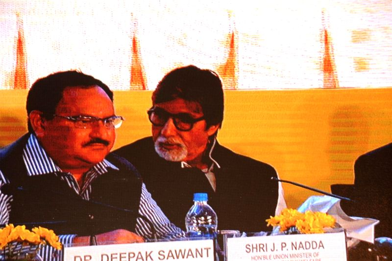 Jagat Prakash Nadda, Union Minister of Health and Family Welfare and actor Amitabh Bachchan during the launch of campaign on Hepatitis-B in Mumbai on Nov 23, 2015. - Amitabh Bachchan