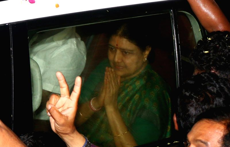 Jailed AIADMK leader V.K. Sasikala who has been granted five-day parole to meet her ailing husband M. Natarajan arrives in Chennai on Oct 6, 2017. She has been directed to keep away from all ...
