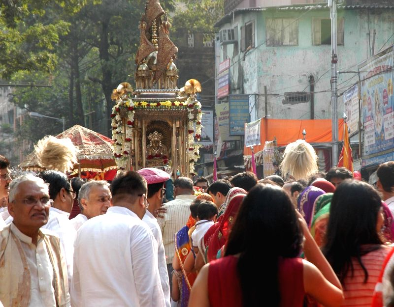 Jains participate in a religious procession in Kolkata, on Nov 25, 2015.