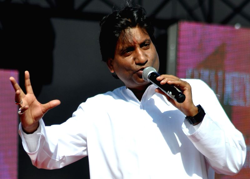 Actor and comedian Raju Srivastav performs during Jaipur Laughter Festival 2015 in Jaipur, on Jan 10, 2015.