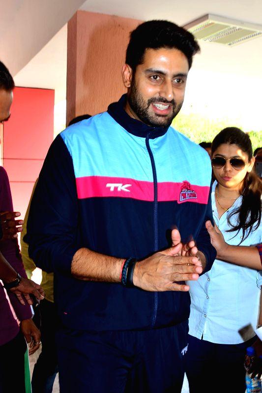 Actor and the owner of Jaipur Pink Panthers Abhishek Bachchan at Sawai Mansingh Stadium in Jaipur, on April 1, 2015.