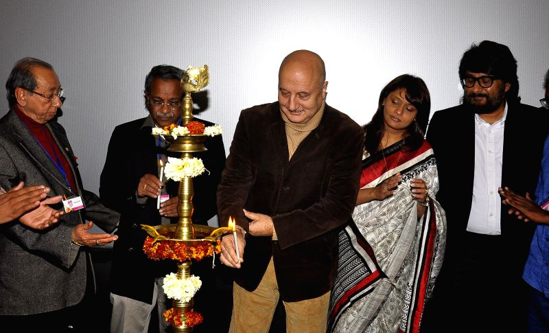 Actor Anupam Kher during the inauguration of Lighting lamp the 7th Jaipur International Film Festival 'JIFF' in Jaipur on Feb. 1, 2015. - Anupam Kher