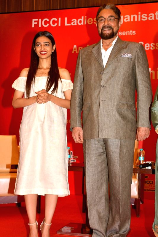 Jaipur: Actors Kabir Bedi and Radhika Apte during a programme organised by Ficci Flo Ladies Organisation in Jaipur on May 3, 2017. - Kabir Bedi and Radhika Apte
