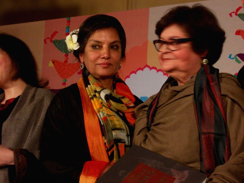 Actress Shabana Azmi with acclaimed Pakistani artist, cultural writer, painter Salima Hashmi - the daughter of revolutionary Urdu poet Faiz Ahmad Faiz - at the Jaipur Literature Festival in ..