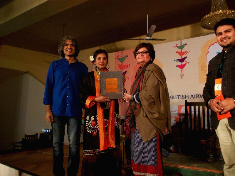 Actress Shabana Azmi with acclaimed Pakistani artist, cultural writer, painter Salima Hashmi - the daughter of revolutionary Urdu poet Faiz Ahmad Faiz - at the Jaipur Literature Festival in ..