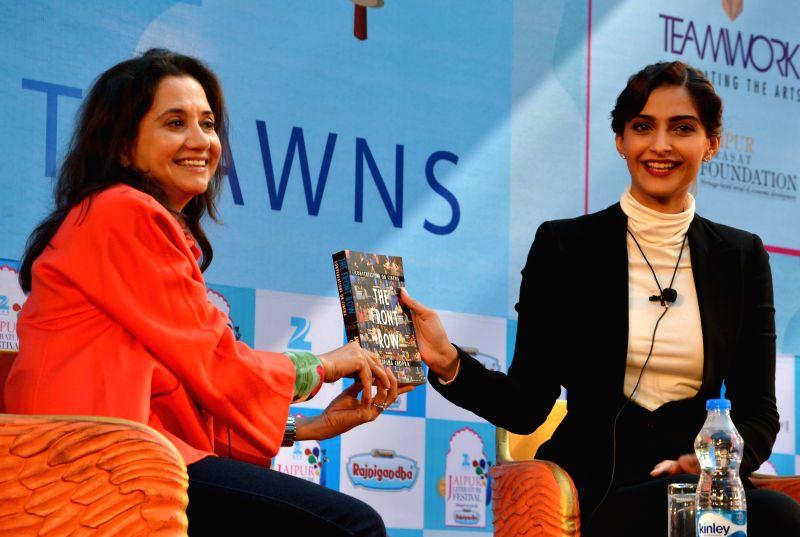 Actress Sonam Kapoor with author Anupama Chopra at the Jaipur Literature Festival in Jaipur, on Jan 23, 2015. - Anupama Chopra