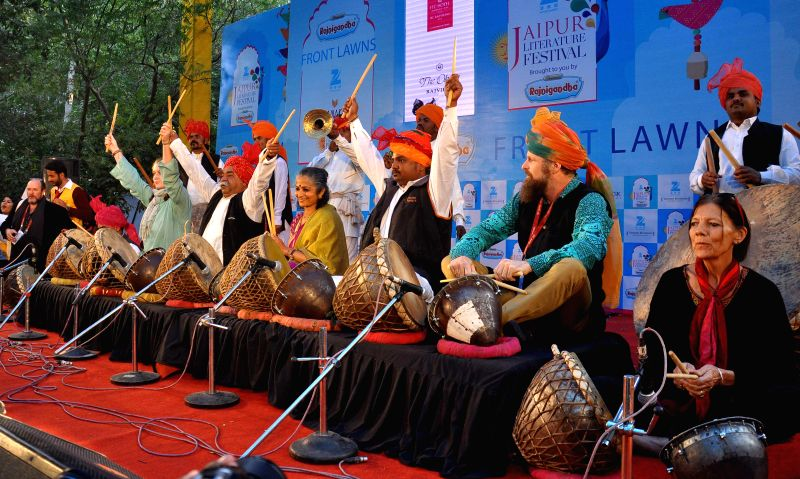 Artists perform during the Jaipur Literature Festival  at Diggi Palace in Jaipur, on Jan 21, 2015.