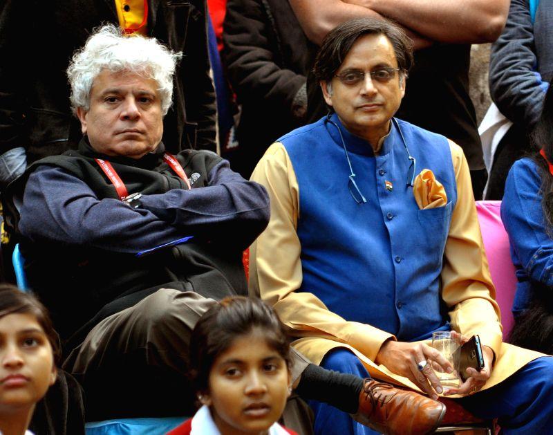 Congress MP from Thiruvananthapuram Shashi Tharoor and author Suhel Seth during the Jaipur Literature Festival in Jaipur, on Jan 23, 2015.