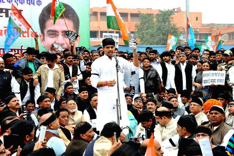 Congress workers led by Rajasthan Congress chief Sachin Pilot demonstrate against BJP led Rajasthan government in Jaipur on Dec. 13, 2014.