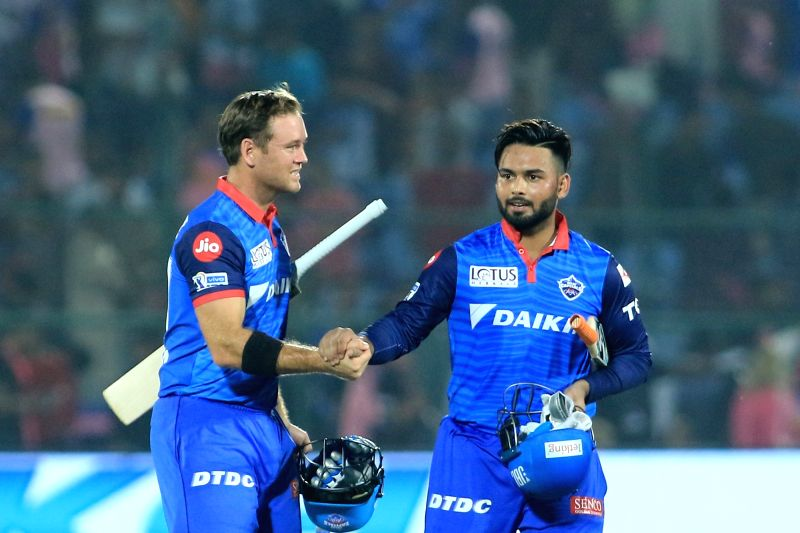 Jaipur: Delhi Capitals' Rishabh Pant and Colin Ingram celebrate after winning the 40th match of IPL 2019 between Rajasthan Royals at Sawai Mansingh Stadium in Jaipur, on April 22, 2019. (Photo: IANS)