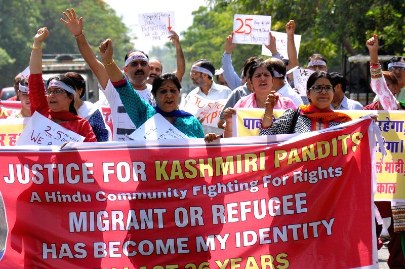 Kashmiri Pandits stage a demonstration in Jaipur, on May 3, 2015.