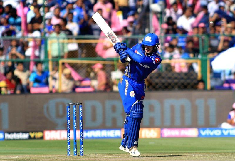 Jaipur: Mumbai Indians' Quinton de Kock in action during the 36th match of IPL 2019 between Rajasthan Royals and Mumbai Indians at Sawai Mansingh Stadium in Jaipur, on April 20, 2019.