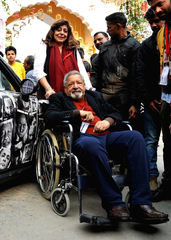 Nobel laureate V.S. Naipaul arrives to attend the Jaipur Literature Festival at Diggi Palace in Jaipur, on Jan 21, 2015.