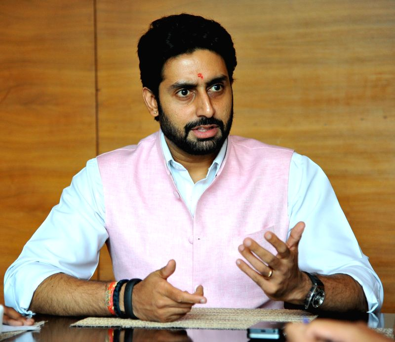 Jaipur Pink Panther owner actor Abhishek Bachchan during a press conference in Jaipur on Aug 19, 2014.