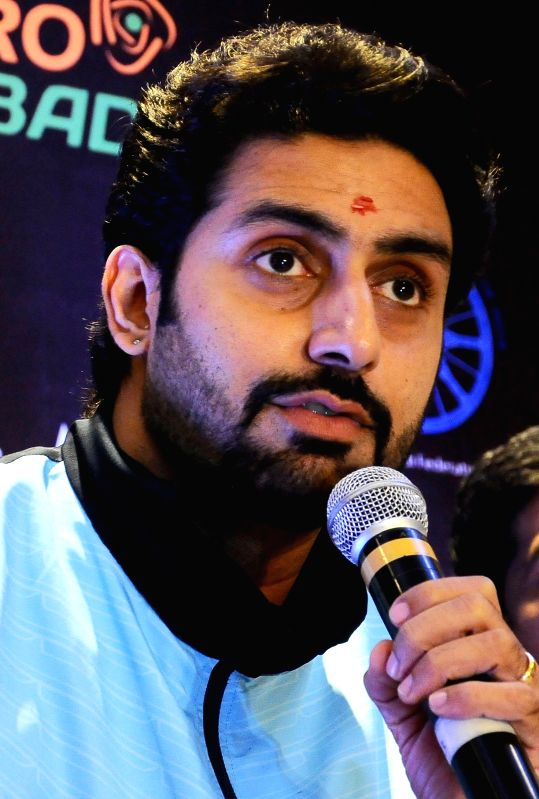 Jaipur Pink Panther owner actor Abhishek Bachchan addresses during a programme organised to unveil Pro Kabaddi League trophy in Bangalore on Aug 27, 2014.