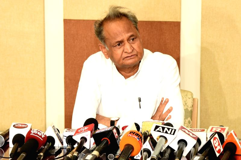 Jaipur: Rajasthan Chief Minister Ashok Gehlot addresses a press conference at his residence in Jaipur on Aug 18, 2019. (Photo: Ravi Shankar Vyas/IANS)