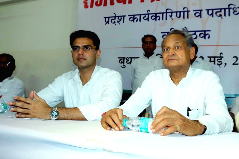 Jaipur: Rajasthan Chief Minister Ashok Gehlot and Deputy Chief Minister Sachin Pilot during a Congress committee meeting at the party office in Jaipur on May 29, 2019. (Photo: Ravi Shankar Vyas/IANS)