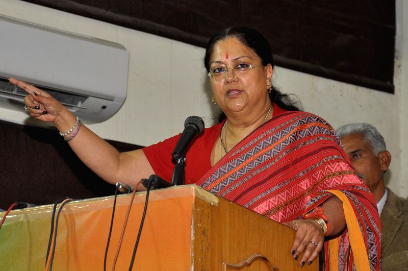  Rajasthan Chief Minister  Vasundhara Raje add r esses BJP  workers after party won Municipal Corporation Elections at BJP office in Jaipur on Nov 25, 2014.