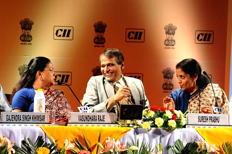 Rajasthan Chief Minister Vasundhara Raje, Union Railway Minister Suresh Prabhakar Prabhu and Union Minister of State for Commerce and Industry (Independent Charge) Nirmala Sitharaman during .. - Vasundhara Raje and Suresh Prabhakar Prabhu
