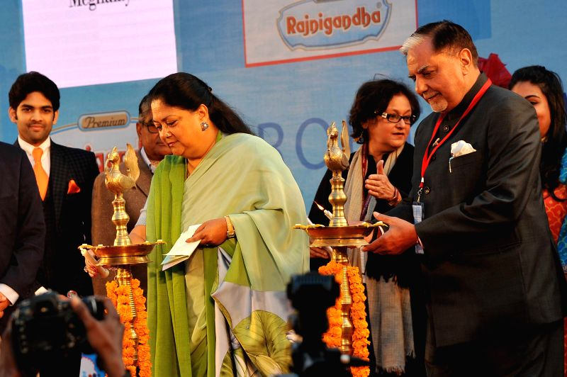 Rajasthan Chief Minister Vasundhara Raje and Essel Group chairman Subhash Chandra at the inauguration of  Jaipur Literature Festival  at Diggi Palace in Jaipur, on Jan 21, 2015. - Vasundhara Raje