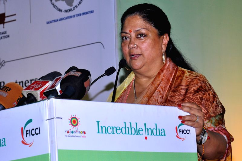 Rajasthan Chief Minister Vasundhara Raje addresses during the Great Indian Travel Bazar (GITB) 2015 in Jaipur, on April 19, 2015.
