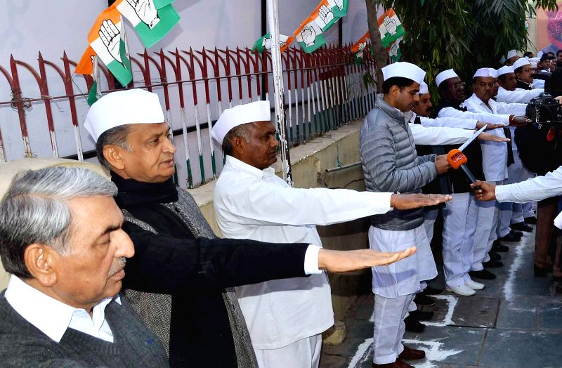 Rajasthan Congress chief Sachin Pilot with other Congressmen during a programme organised on the foundation day of the party in Jaipur, on Dec 28, 2014.