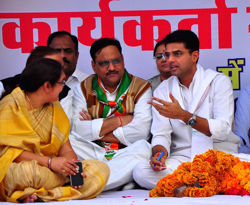 Rajasthan Congress president Sachin Pilot with party leaders during a party meeting in Jaipur on Nov. 20, 2014.