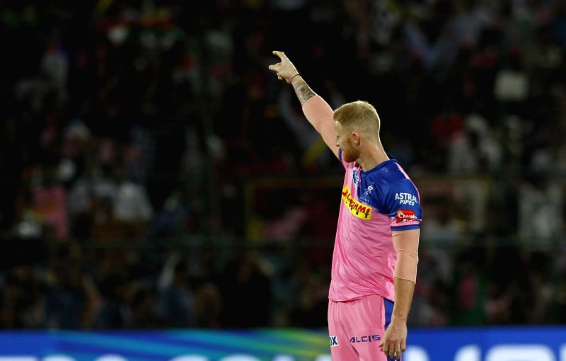 Jaipur: Rajasthan Royals' Ben Stokes celebrates fall of Chris Gayle's wicket during the fourth IPL 2019 match between Kings XI Punjab and Rajasthan Royals at Sawai Mansingh Stadium in Jaipur on March 25, 2019. (Photo: Surjeet Yadav/IANS)