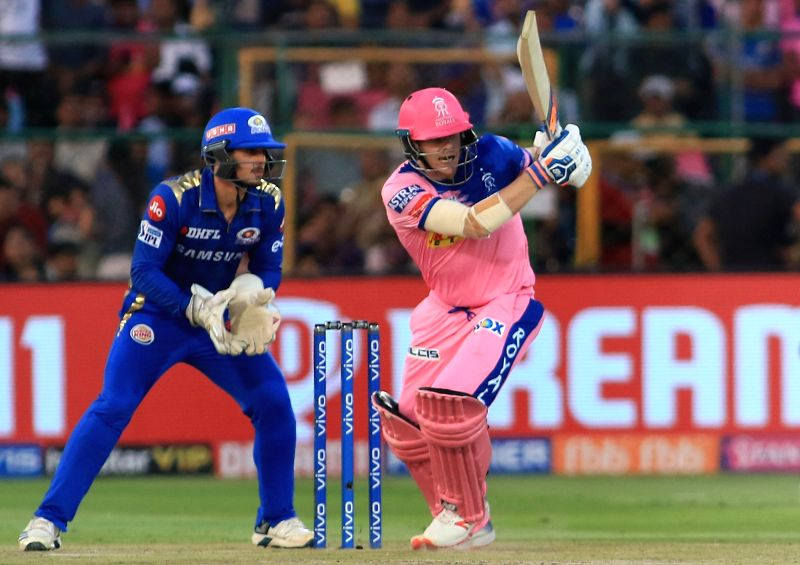 Jaipur: Rajasthan Royals' skipper Steve Smith in action during the 36th match of IPL 2019 between Rajasthan Royals and Mumbai Indians at Sawai Mansingh Stadium in Jaipur, on April 20, 2019. (Photo: IANS)