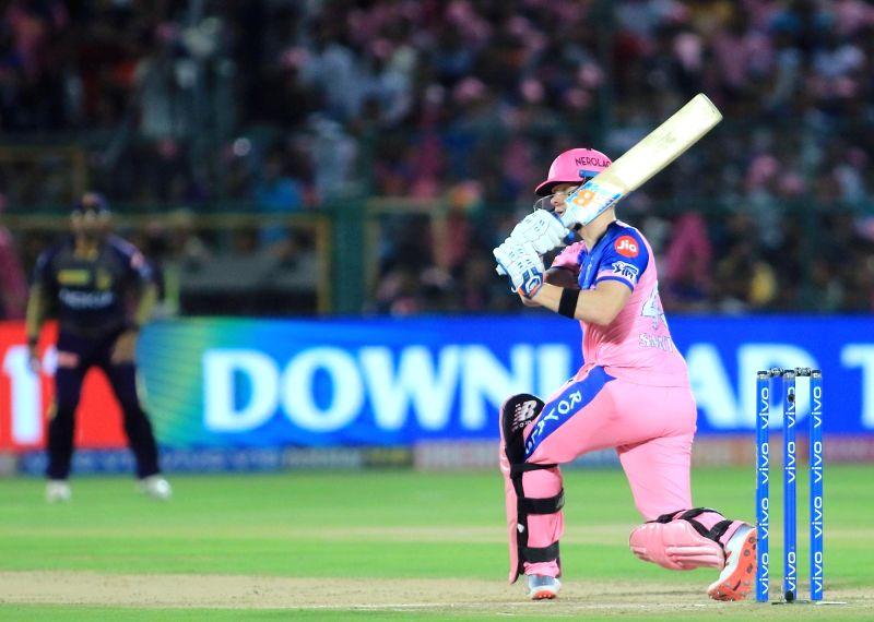 Jaipur: Rajasthan Royals' Steve Smith in action during the 21st match of IPL 2019 between Rajasthan Royals and Kolkata Knight Riders at Sawai Mansingh Stadium in Jaipur on April 7, 2019.
