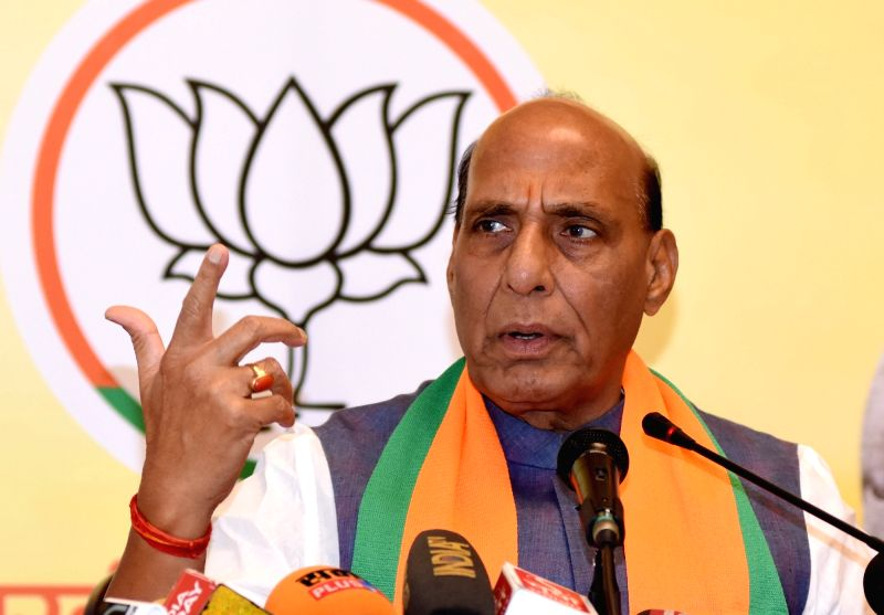 Jaipur: Union Home Minister Rajnath Singh addresses a press conference, in Jaipur, on April 22, 2019. (Photo: IANS)