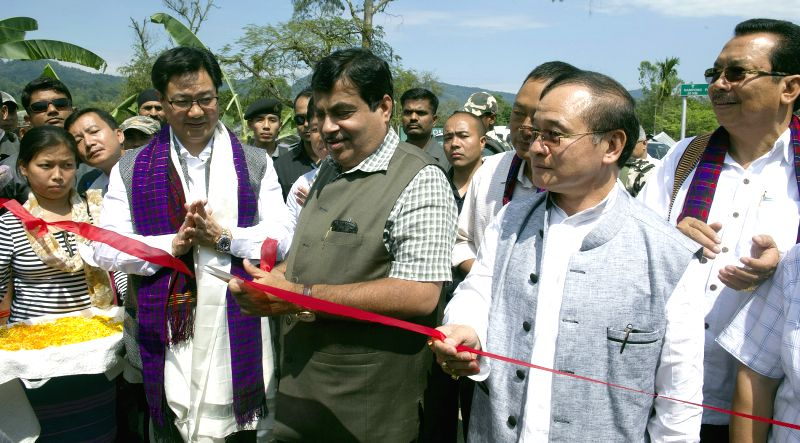 Union Minister for Road Transport and Highways, and Shipping Nitin Gadkari inaugurates a stretch of NH-153 (Stillwell Road) from Jairampur to Pangsu Pass, at Jairampur, Arunachal Pradesh ...